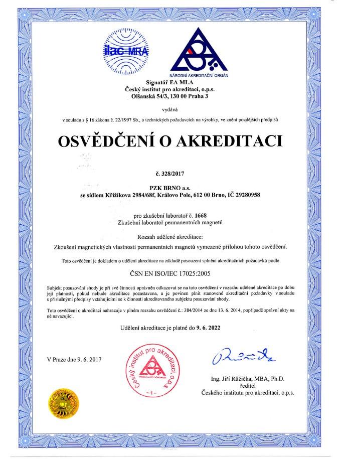 Osvědčení o akreditaci